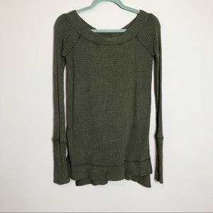 Free People Green Knit Long Sleeve Top